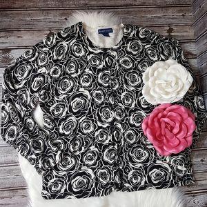 Karen Scott black floral cardigan size XL